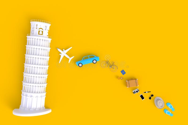 Leaning Tower of Pisa, Italy, Europe, Italian Architecture, Top view of Traveler`s accessories abstract minimal yellow background. Essential vacation items royalty free illustration
