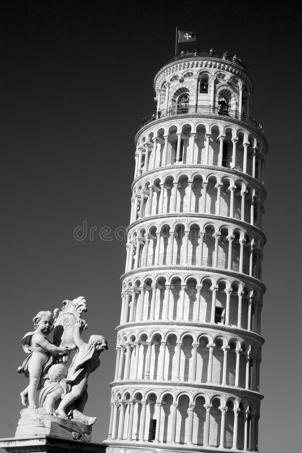 Leaning Tower of Pisa and Statue, Italy royalty free stock image