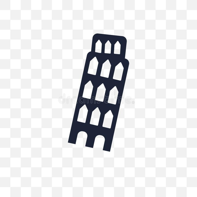 Leaning Tower of Pisa transparent icon. Leaning Tower of Pisa symbol design from Architecture collection. Simple element vector illustration on transparent stock illustration