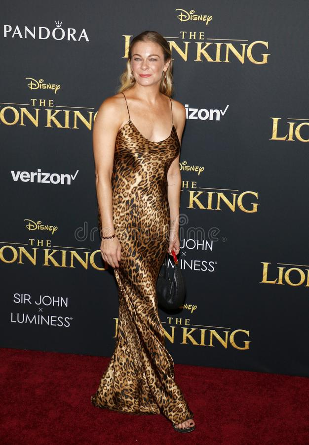 LeAnn Rimes. At the World premiere of `The Lion King` held at the Dolby Theatre in Hollywood, USA on July 9, 2019 stock photos