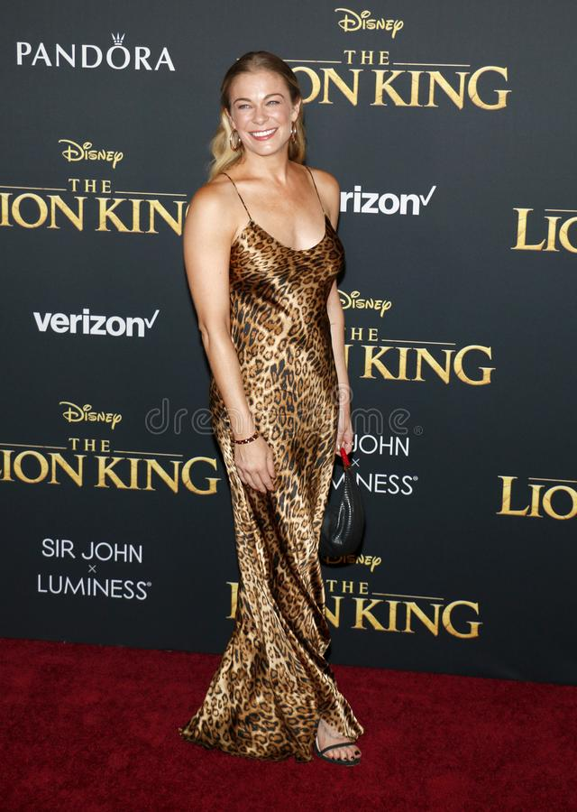 LeAnn Rimes. At the World premiere of `The Lion King` held at the Dolby Theatre in Hollywood, USA on July 9, 2019 royalty free stock photo