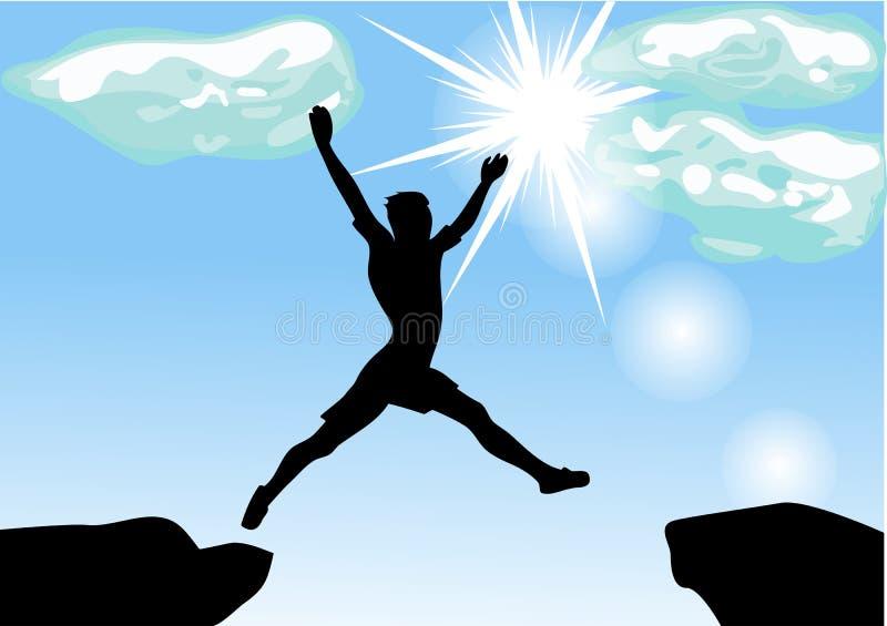 Leap across the chasm. Man leap across the chasm. 10 EPS royalty free illustration