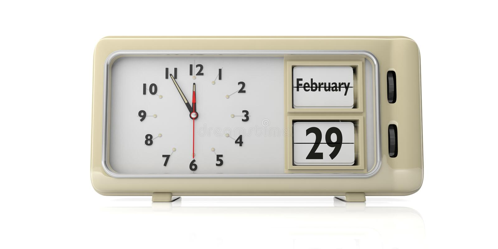 Leap Day 29 February on old retro alarm clock, white background, isolated, 3d illustration. Leap Day, 29 February date text on old retro vintage alarm clock vector illustration