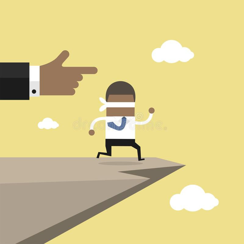Leap of faith concept. Blindfolded African businessman walks off a cliff. vector illustration