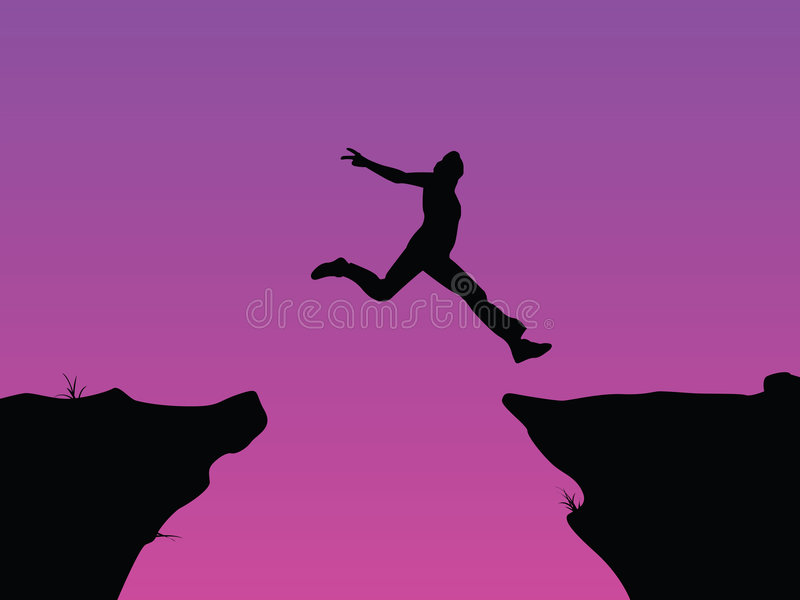 Leap of faith vector. Vector image leap of faith royalty free illustration