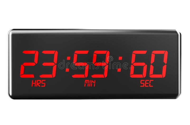 Leap second on watches. Leap second concept isolated on white background stock illustration