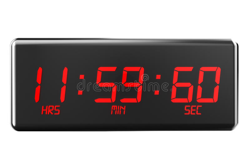 Leap second on watches concept. Leap second concept isolated on white background stock illustration