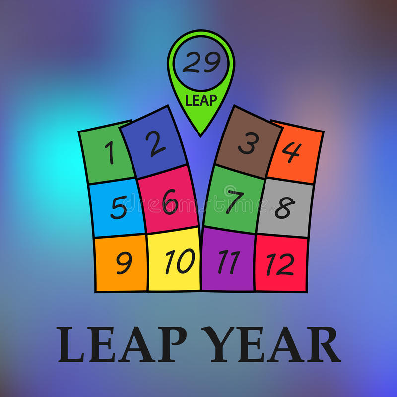 Leap year illustration. Leap year, february 29. Stock vector Illustration royalty free illustration