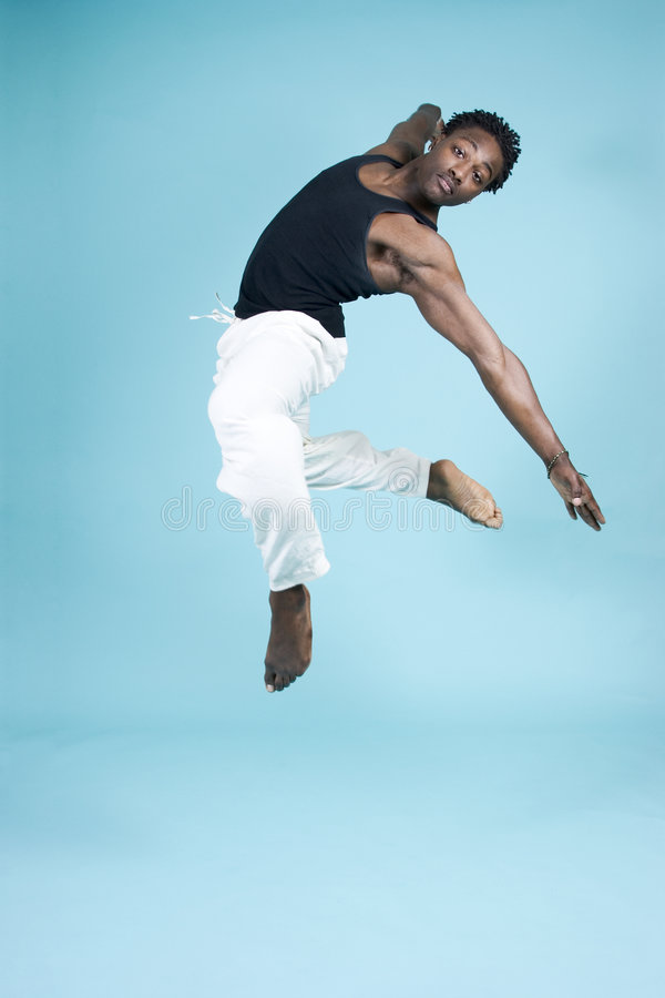 Leaping through the air stock image