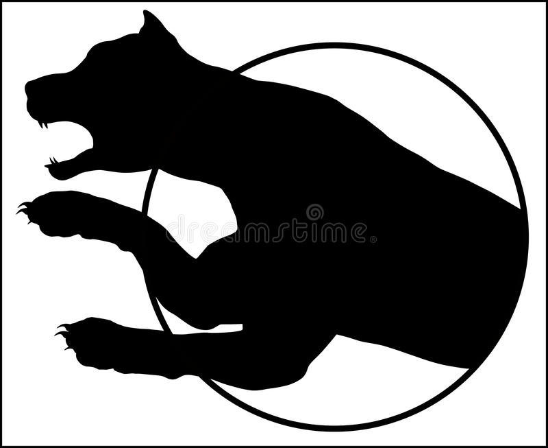 Leaping Leopard on a white background stock illustration