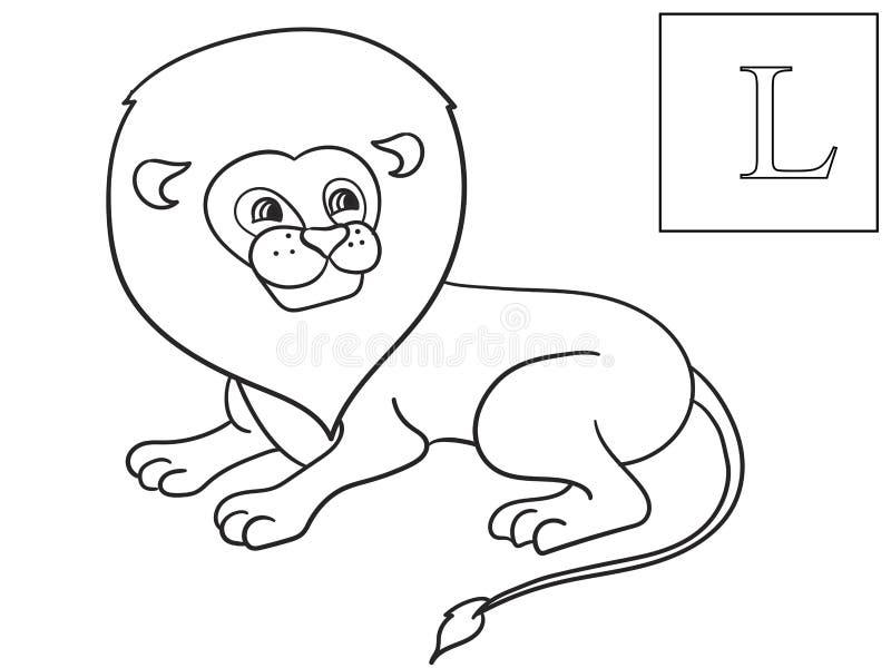 Lear o nome de animais africanos Leão da inscrição Vetor educacional do jogo Coloração de ABC ilustração stock