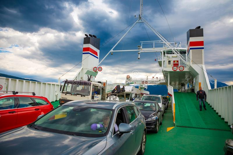 Leardal, Norway - 27.06.2018: The Ferry transported cars on Leardal, Norway stock photo