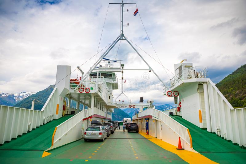 Leardal, Norway - 27.06.2018: The Ferry transported cars on Leardal, Norway stock image
