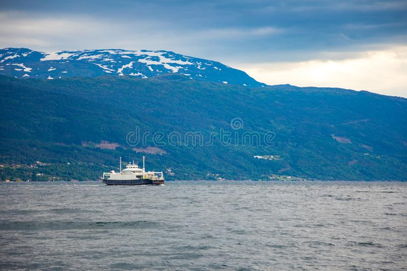 Leardal, Norway - 27.06.2018: The Ferry transported cars on Leardal, Norway stock photography