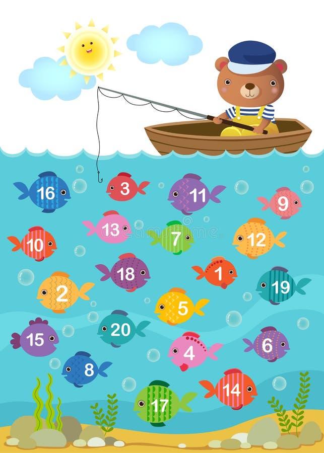Learn подсчитывая номер с милым медведем иллюстрация штока
