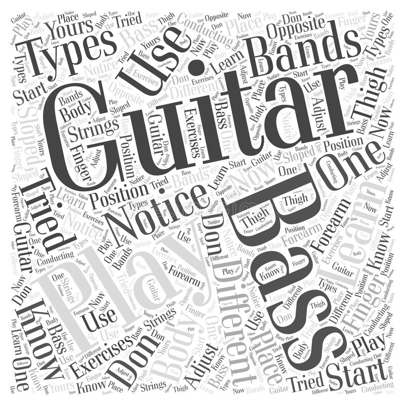 Learn bass guitar word cloud concept stock illustration