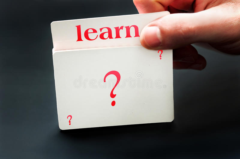 Learn card. From question deck of cards stock photos