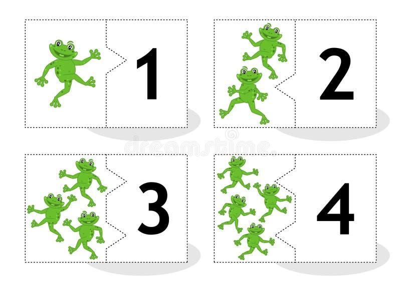 Learn che conta le carte di puzzle con le rane, numeri 1 - 4 illustrazione vettoriale