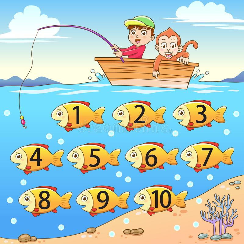 Learn counting number with fishing. royalty free illustration