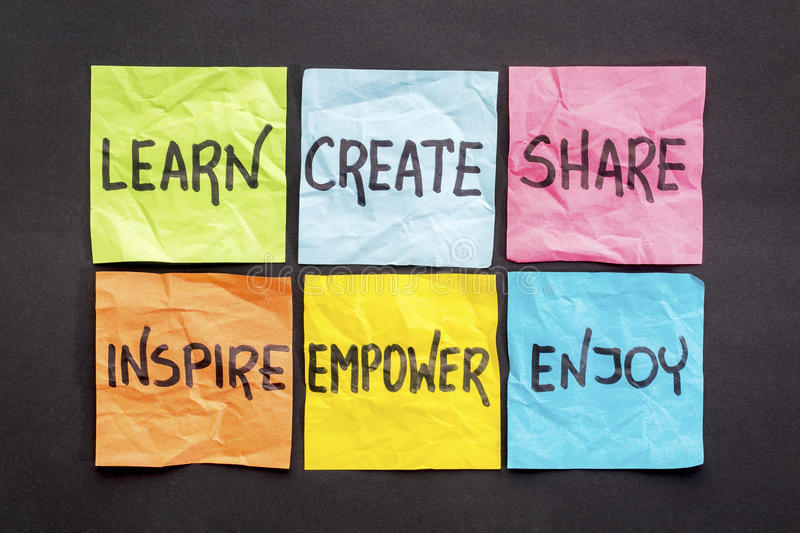 Learn, create, share, and inspire. Learn, create, share, inspire, empower and enjoy - set of sticky notes with inspirational words and smiley stock images