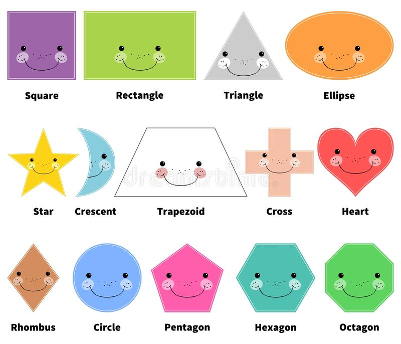 Learn 2D shapes. Cartoon smiling shapes for kids. . White background. Learn 2D shapes. Cartoon smiling shapes for kids. objects on white background with caption royalty free illustration
