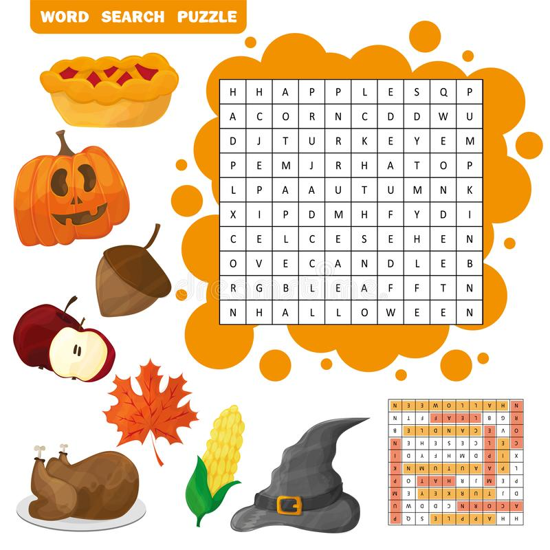 Learn English with an autumn word search game for kids. Vector illustration stock illustration