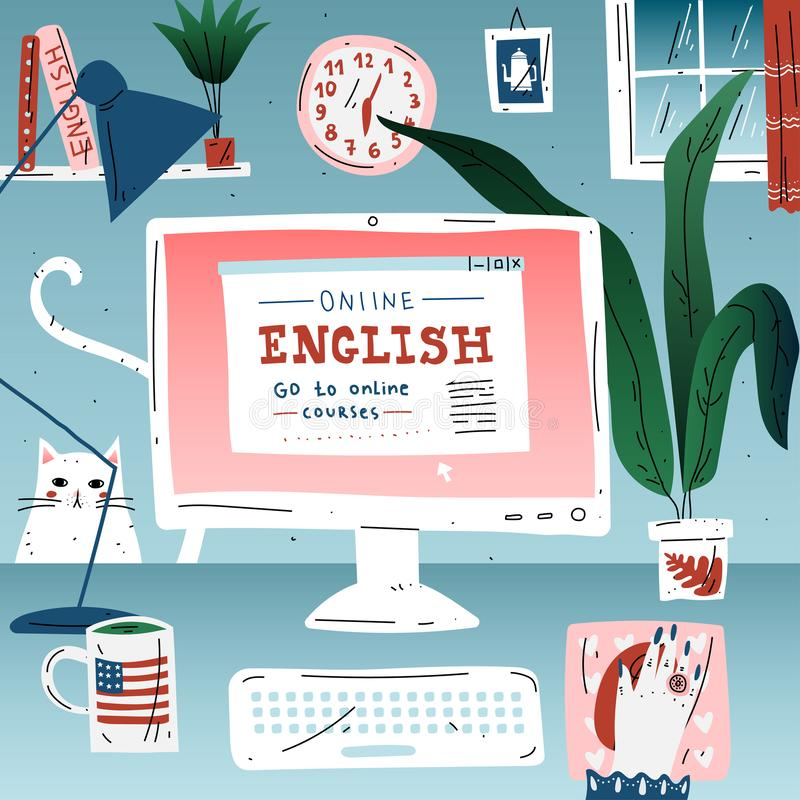 Learn english online education language. Workplace, desktop computer. Learn english online education language. Workplace, desktop computer royalty free illustration