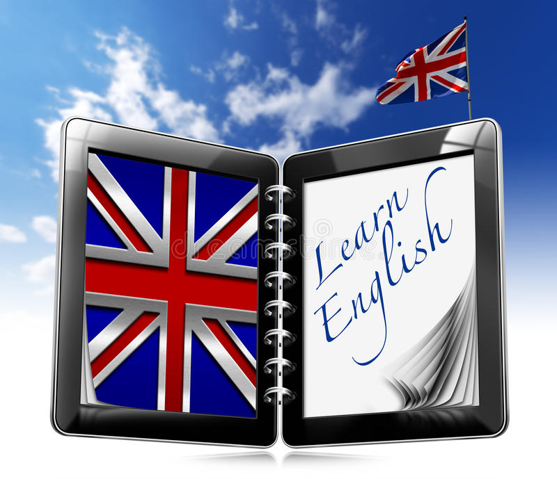 Learn English - Tablet Computer vector illustration