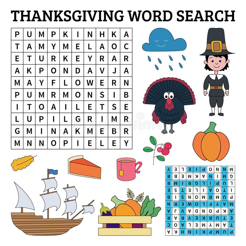 Learn English with Thanksgiving word search game for kids. Vector illustration. stock illustration