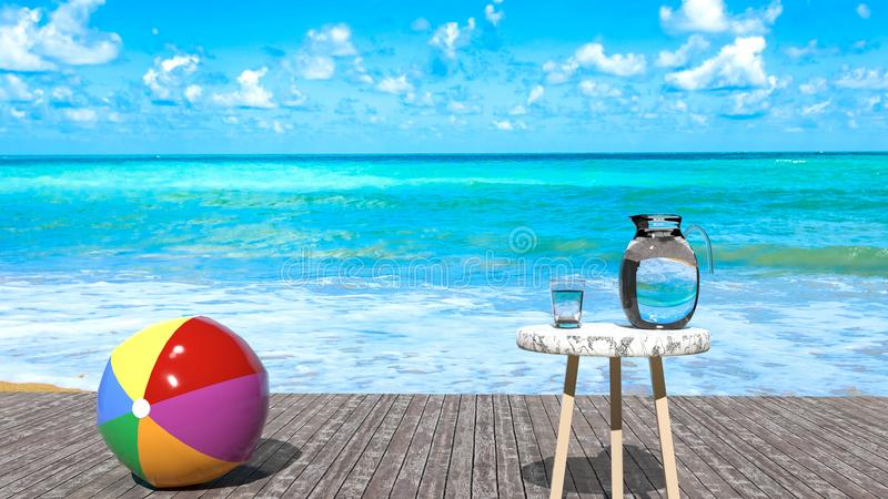 Holiday relax - summer sea relaxing outdoors scene, sunny day, beach ball, blue ocean, peaceful sky with puffy clouds stock image