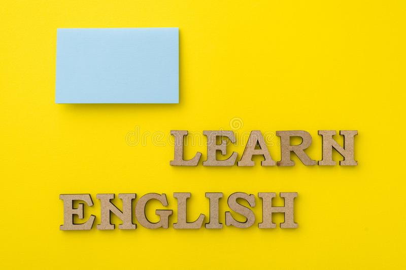 Learn English, with yellow background stock image