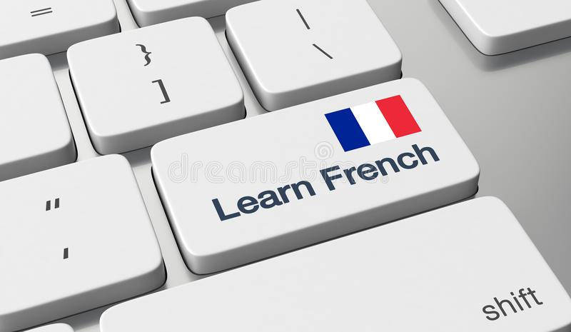 Learn French online. Learn French language online concept royalty free stock images