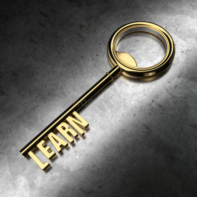 Learn - Golden Key on Black Metallic Background. stock illustration
