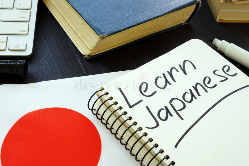 Learn Japanese handwritten in the notebook stock image