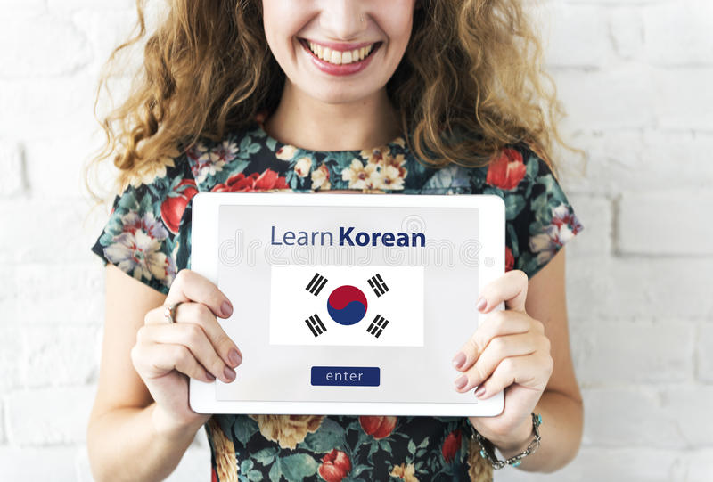 Learn Korean Language Online Education Concept. Learn Korean Language Education Concept royalty free stock photography