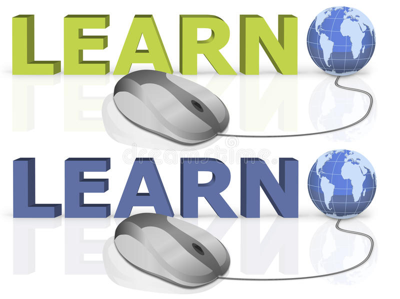 Learn on line learning internet education stock photography