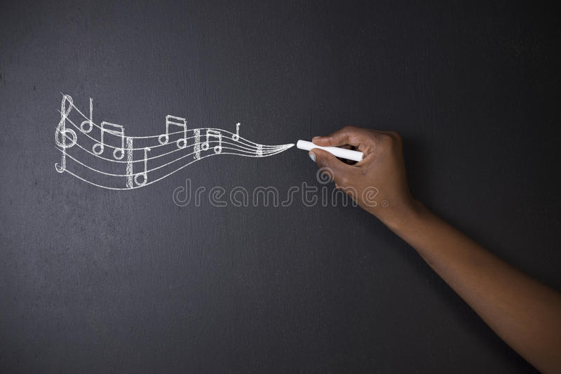 Learn music South African or African American teacher or student with chalk background stock photography