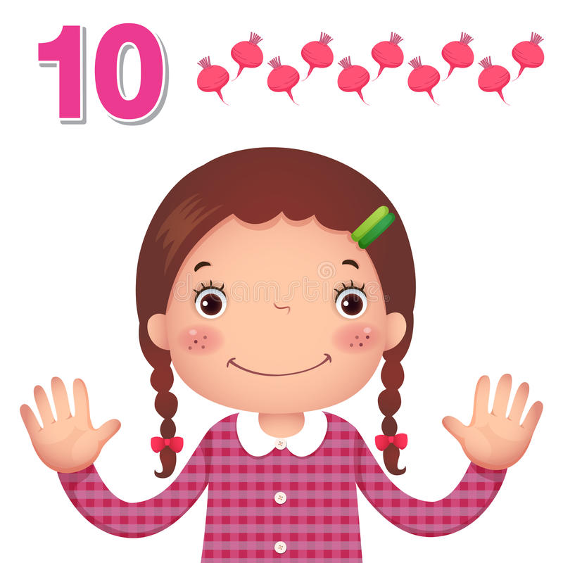 Learn number and counting with kid's hand showing the number t. Kids learning material. Learn number and counting with kid's hand showing the royalty free illustration