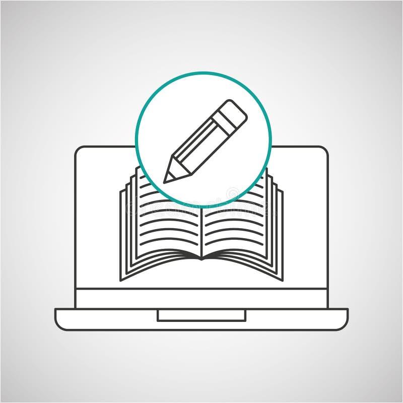 Learn online book writing pencil design. Vector illustration eps 10 stock illustration