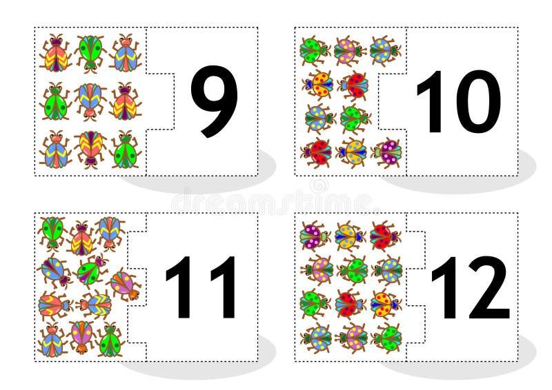 Learn Puzzlespielkarten mit Wanzen und Käfern, Nr. 9 - 12 zählend lizenzfreie abbildung