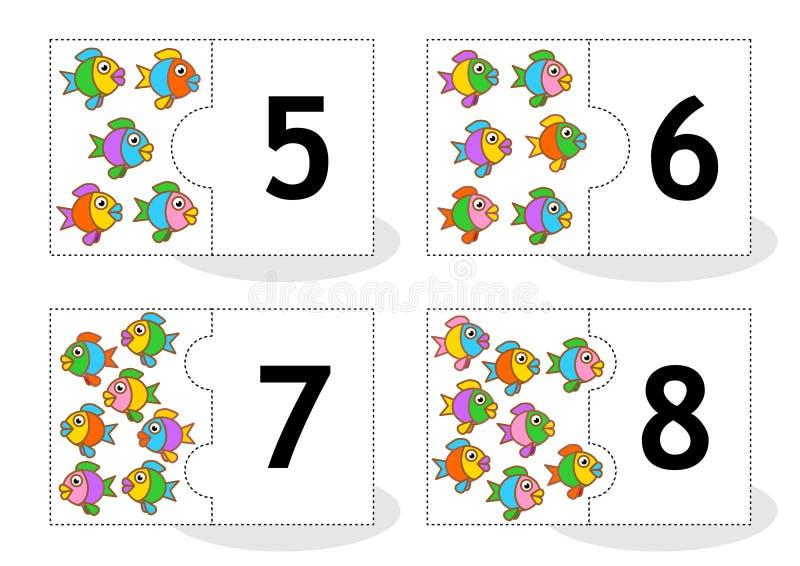 Learn que conta cartões do enigma com peixes, números 5 - 8 ilustração stock