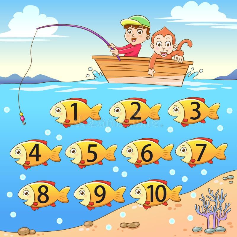 Learn que conta o número com pesca ilustração royalty free