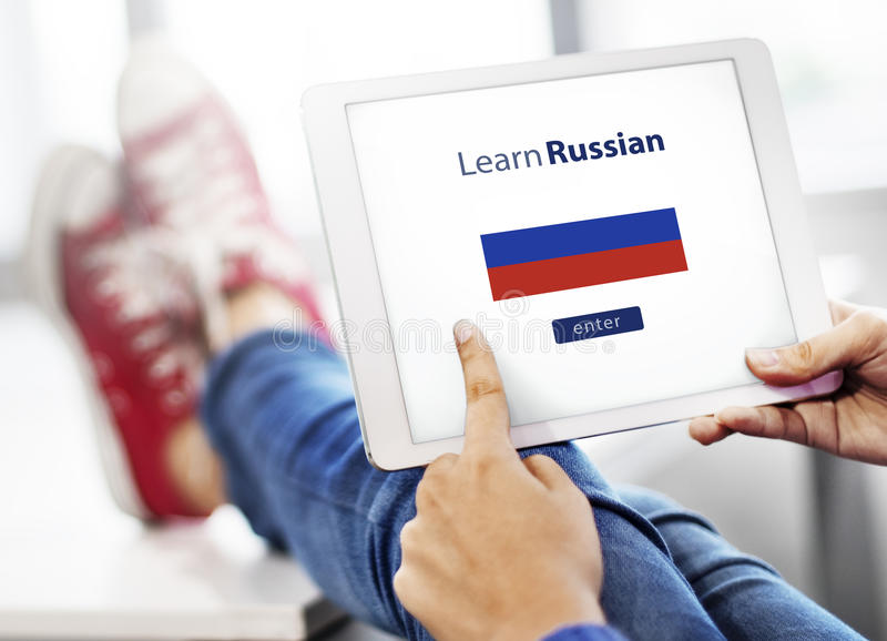 Learn Russian Language Online Education Concept royalty free stock photos