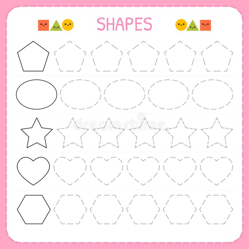Learn Shapes And Geometric Figures Preschool Or Kindergarten Worksheet For Practicing Motor Skills Tracing Dashed Lines For Kids Stock Vector Illustration Of Basic Draw 111670192