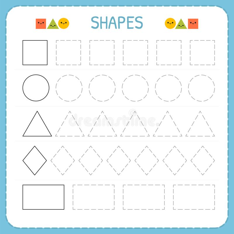 Learn shapes and geometric figures. Preschool or kindergarten worksheet for practicing motor skills. Tracing dashed lines vector illustration