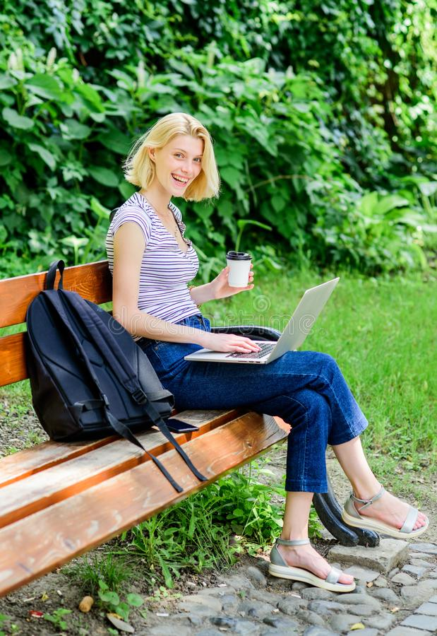 Learn study explore. Surfing internet. Modern student life. Regular student. Girl adorable student with laptop and royalty free stock photography