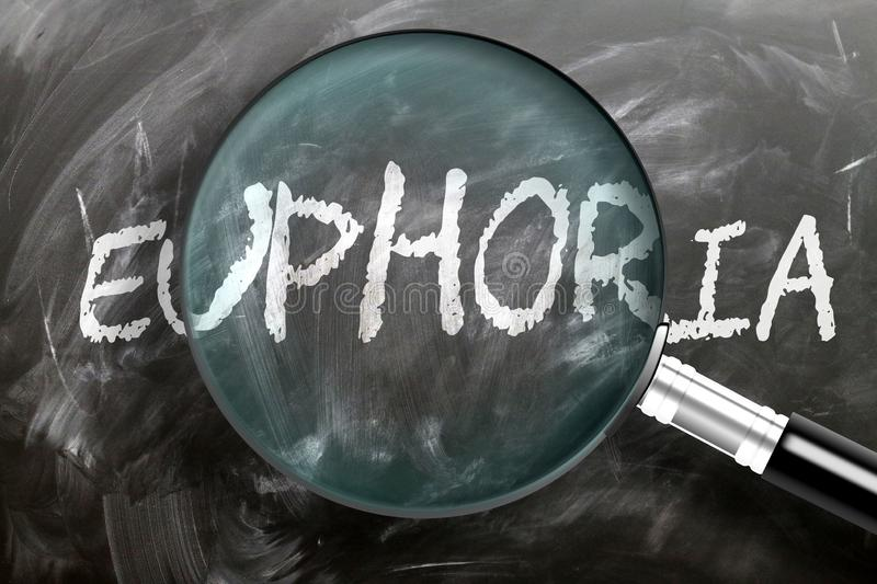 Learn, study and inspect euphoria - pictured as a magnifying glass enlarging word euphoria, symbolizes researching, exploring and. Analyzing meaning of euphoria stock images