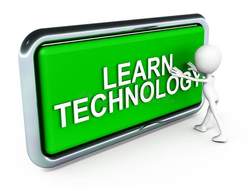 Learn technology. 3d man pushing button labeled learn technology in green, white background royalty free illustration