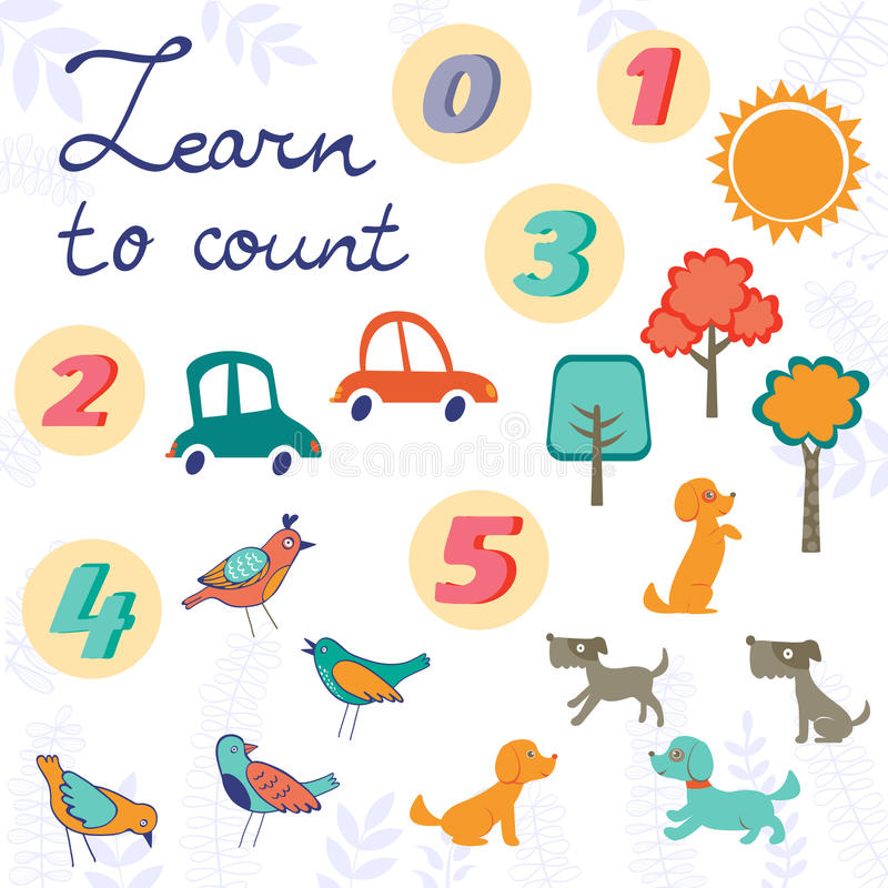 Learn to count concept set of cute graphic. Set of cute graphic elements - trees, birds, dogs and cars. easy learn to count vector illustration
