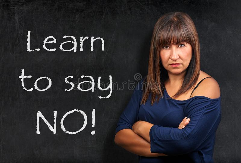 Download Learn To Say No Teacher Threatening Brunette Woman Crossed Arms Stock Image - Image of handwriting, education: 109531799